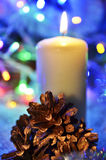 Christmas candle and cones Stock Image