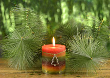 Christmas candle with conifer. Branches on blurred background Stock Photo