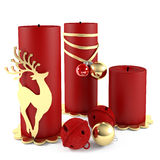 Christmas candle decorated with ball toys isolated. See my other works in portfolio Royalty Free Stock Image