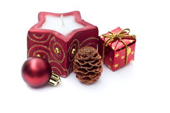 Christmas candle and decoration Royalty Free Stock Images
