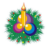 Christmas candle - decoration. With balls and branches vector illustration