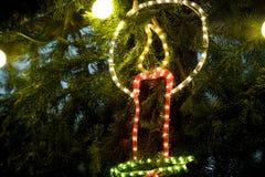Christmas Candle Decoration. Candle Decoration on Christmas Tree stock photo