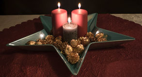 Christmas, candle decoration in a decorative Bowl Royalty Free Stock Photos