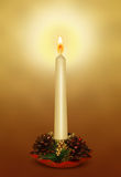 Christmas candle with decorations Royalty Free Stock Images