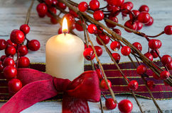 Christmas candle. Decorative, home decoration Royalty Free Stock Photos