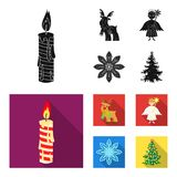 Christmas candle, deer, angel and snowflake black, flat icons in set collection for design. Christmas vector symbol. Stock  illustration Royalty Free Stock Photo