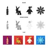Christmas candle, deer, angel and snowflake black, flat, monochrome icons in set collection for design. Christmas vector. Symbol stock  illustration Royalty Free Stock Images