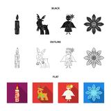 Christmas candle, deer, angel and snowflake black,flat,outline icons in set collection for design. Christmas vector. Symbol stock  illustration Stock Photo