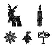 Christmas candle, deer, angel and snowflake black icons in set collection for design. Christmas vector symbol stock web. Christmas candle, deer, angel and Stock Photo