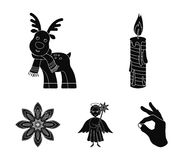 Christmas candle, deer, angel and snowflake black icons in set collection for design. Christmas vector symbol stock web. Christmas candle, deer, angel and Stock Images