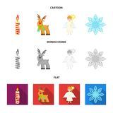 Christmas candle, deer, angel and snowflake cartoon,flat,monochrome icons in set collection for design. Christmas vector. Symbol stock  illustration Stock Photography