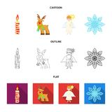Christmas candle, deer, angel and snowflake cartoon,outline,flat icons in set collection for design. Christmas vector. Symbol stock  illustration Stock Photo
