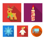 Christmas candle, deer, angel and snowflake flat icons in set collection for design. Christmas vector symbol stock web. Christmas candle, deer, angel and Royalty Free Stock Images