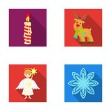 Christmas candle, deer, angel and snowflake flat icons in set collection for design. Christmas vector symbol stock web. Christmas candle, deer, angel and Royalty Free Stock Photos