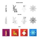 Christmas candle, deer, angel and snowflake flat,outline,monochrome icons in set collection for design. Christmas vector. Symbol stock  illustration Royalty Free Stock Images