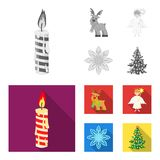 Christmas candle, deer, angel and snowflake monochrome,flat icons in set collection for design. Christmas vector symbol. Stock  illustration Stock Photography
