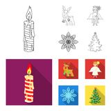 Christmas candle, deer, angel and snowflake outline,flat icons in set collection for design. Christmas vector symbol. Stock  illustration Stock Photos