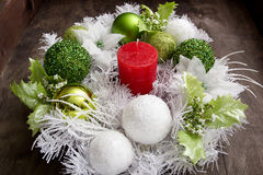 Christmas candle and festive wreath Royalty Free Stock Photo