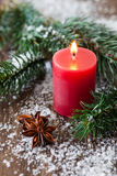 Christmas candle and fir Royalty Free Stock Photo