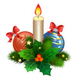 Christmas candle with fir branches, Christmas balls and holly. Berries. Vector illustration Royalty Free Stock Images