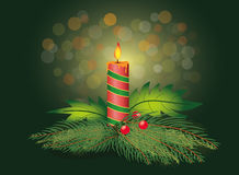 Christmas candle with fir tree branch Stock Photos