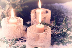 Christmas candle fir tree winter background Royalty Free Stock Images