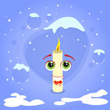 Christmas Candle Fire Cartoon Character Concept. Blue Snow Background Flat Vector Illustration Stock Images