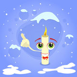 Christmas Candle Fire Point Finger Up Show Empty. Copy Space Cartoon Character Concept Blue Snow Background Flat Vector Illustration Stock Image