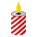 Christmas Candle Flat Icon Isolated on White. Red and white Christmas candle flat icon, isolated on white background. Eps file available Royalty Free Stock Image