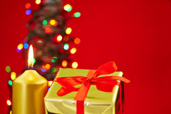 Christmas with candle, gift and tree Stock Image