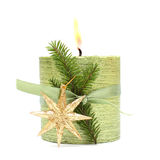 Christmas candle, green ribbon and gold star Royalty Free Stock Image