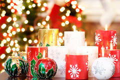 Christmas candle group Stock Images