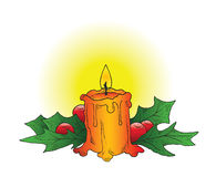 Christmas Candle. A hand-drawn ink vector of a Christmas candle adorned with holly Stock Image