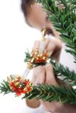 Christmas candle hanging Stock Photo