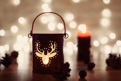 Christmas candle holder and Christmas lights. magic Holiday concept Royalty Free Stock Images