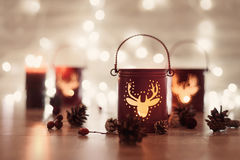 Christmas candle holder and Christmas lights. magic Holiday concept Stock Images