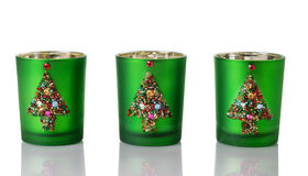 Christmas Candle Holders on white Stock Image