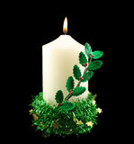Christmas Candle With Holly Stock Photos