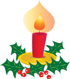 Christmas Candle with Holly Royalty Free Stock Photography