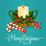 Christmas candle with holly berry greeting card Royalty Free Stock Image
