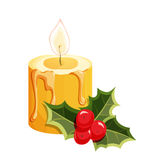 Christmas candle with holly. Christmas candle. Christmas holiday object. Christmas candle vector illustration. Cartoon candle with holly berry Stock Photography