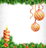 Christmas candle with holly, pine and Christmas balls on graysca Royalty Free Stock Images