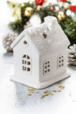 Christmas candle house Royalty Free Stock Photo