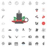 Merry Christmas and Happy New Year icon. Vector illustration. Christmas candle icon. Merry Christmas and Happy New Year set icon. Vector illustration Royalty Free Stock Photography
