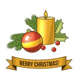 Christmas candle icon Stock Images
