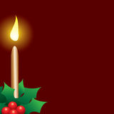 Christmas candle illustration. Christmas candle vector illustration  with red background and green holly Royalty Free Stock Photo