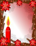 Christmas greeting card with red candle Stock Photos