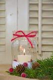 Christmas Candle In Mason Jar Stock Photos