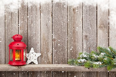 Christmas candle lantern and decor Royalty Free Stock Images