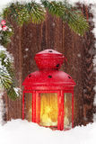 Christmas candle lantern and fir tree Royalty Free Stock Photography